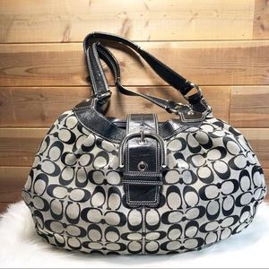 Coach Soho Signature Lynn Hobo Black & Grey Canvas